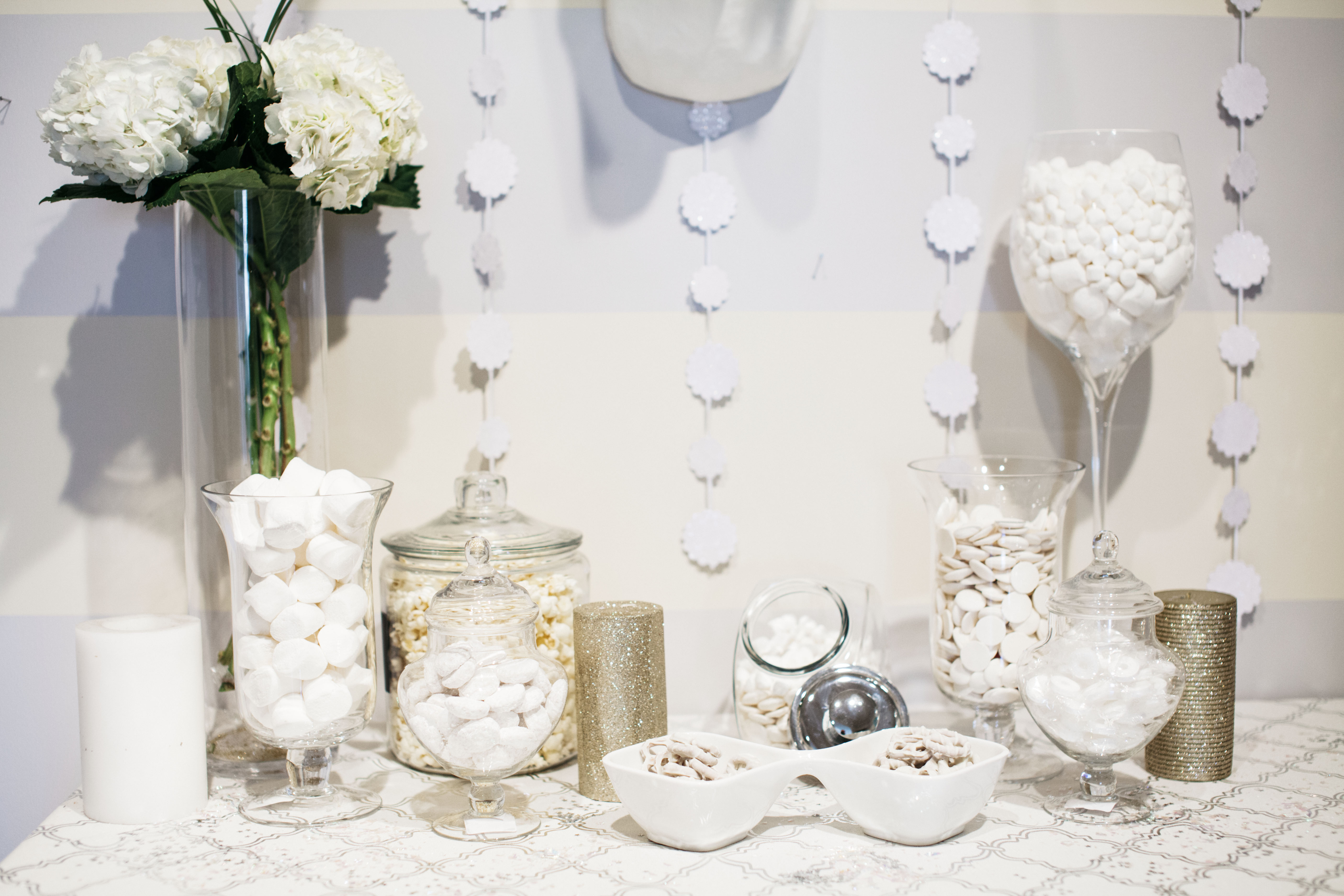 The chic series winter white party decor for All white party decorations