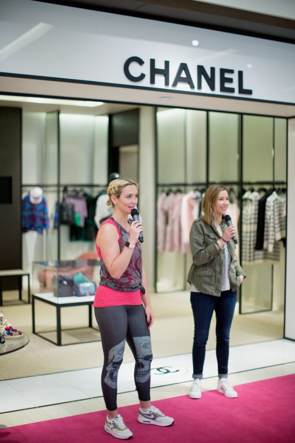 Pink Beyond Yoga Tank, Terez Sheer Burnout Muscle Tee in Grey, Terez Skull Leggings at Neiman Marcus Fashion Show