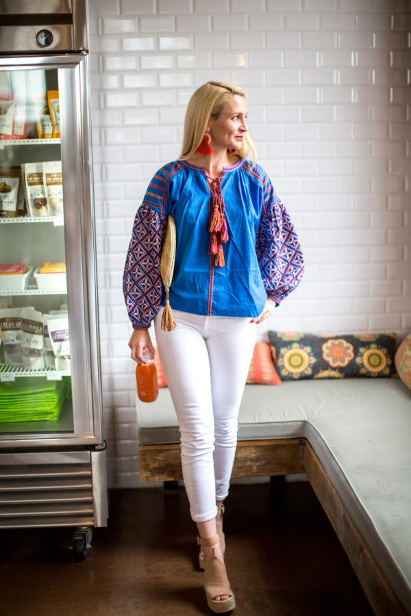 Colorful Spring Blouse, Blue and Orange Blouse, How To Wear White Pants for Spring, Tuckernuck, Tassel Accessories, Statement Earrings