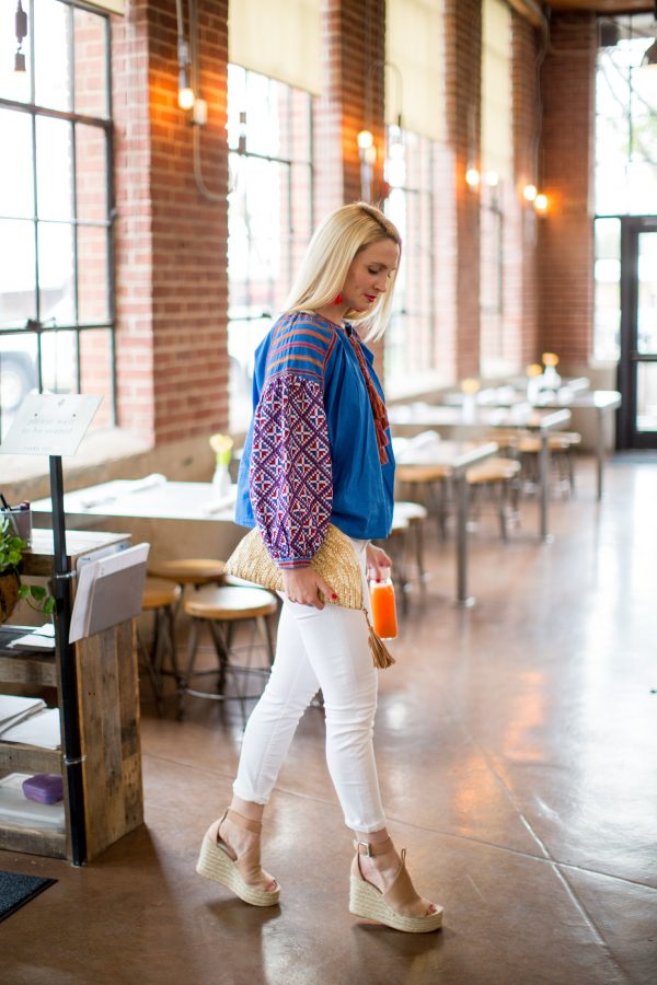 Colorful Blouse, What to wear with white denim, Tuckernuck Style, Chic Mom Outfit, What to wear with white denim