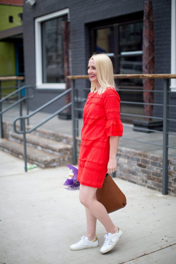 J.Crew Flutter Sleeve Eyelet Shift Dress, Golden Goose Sneakers, Spring Dress Style, How to pair sneakers with dresses