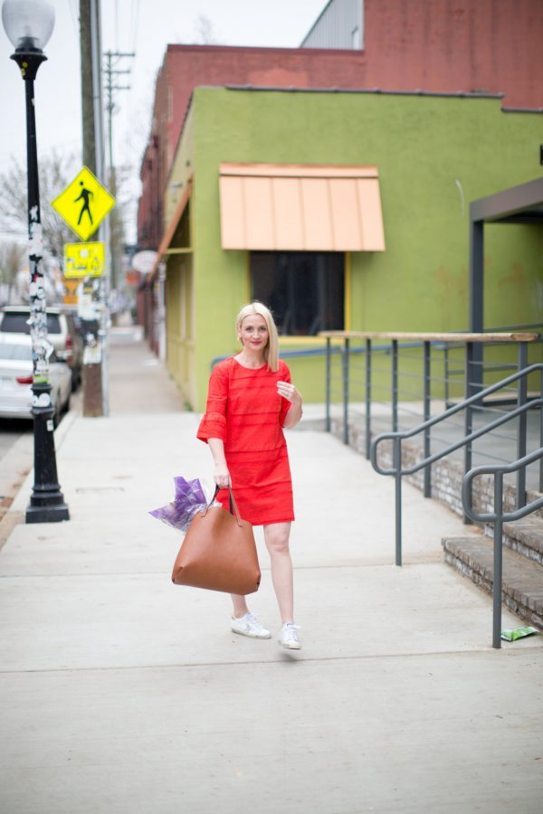 J.Crew Flutter Sleeve Eyelet Shift Dress, Golden Goose Sneakers, Spring Dress Style, How to wear Sneaker's with Dresses