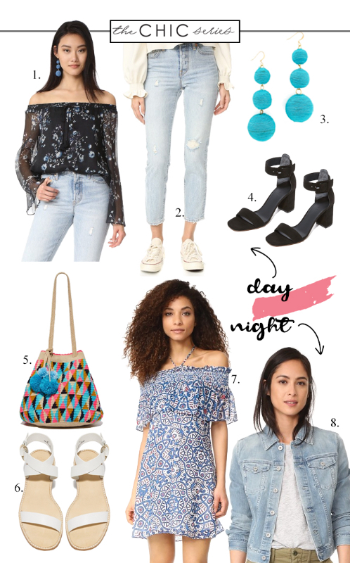 Your guide to the Shopbop Sale for the busy mom! One piece styled two ways, Off the shoulder outfit, off the shoulder dress outfit