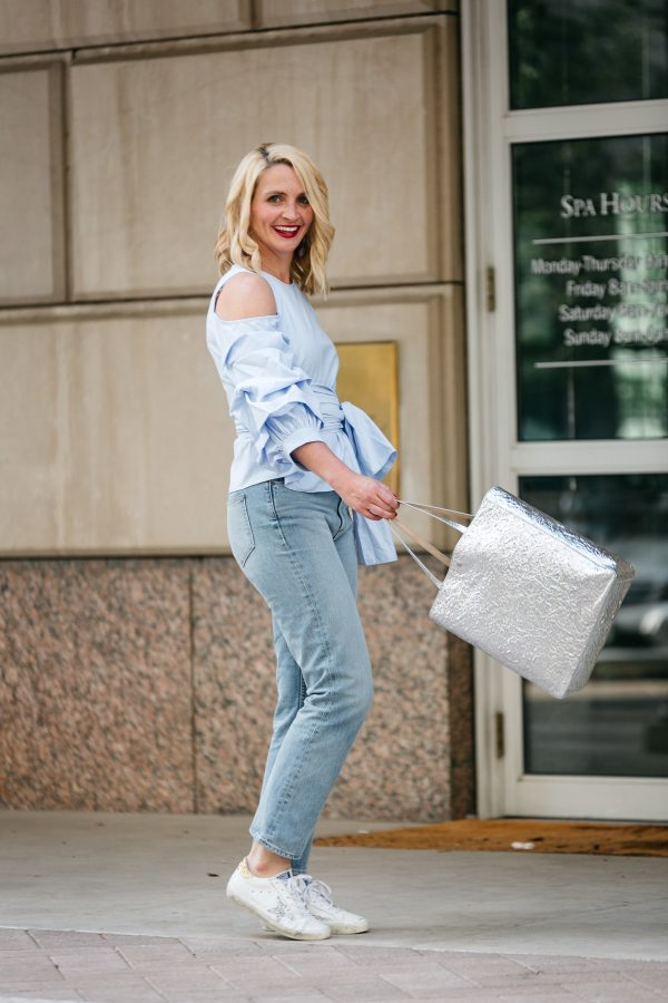 weekend chic, cute mom outfit, how to style golden goose sneakers, metallic tote, JOA blue statement sleeve top, how to wear a statement sleeve blouse