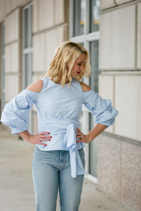 statement sleeve for daytime, how to style the statement sleeve, spring trends, cute daytime look, how to wear golden goose sneakers, chic mom style, mom style monday, statement sleeve