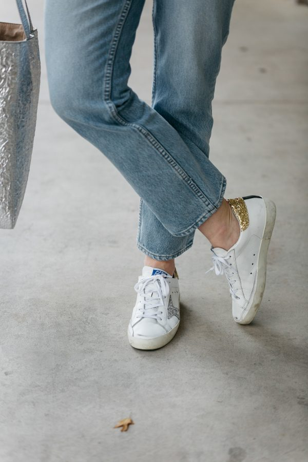 golden goose sneakers, what to pair with cropped denim, sneakers with denim, how to wear golden goose sneakers