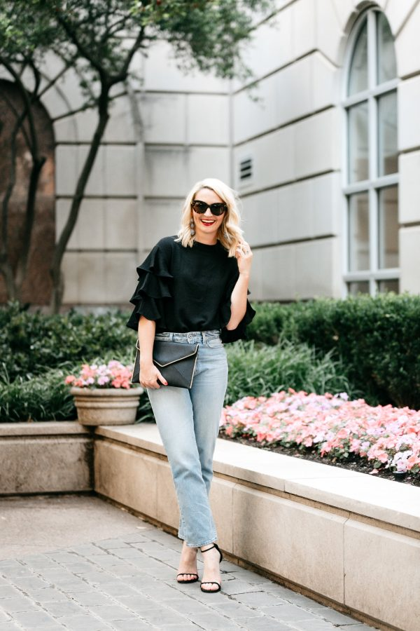 statement sleeve top, statement sleeve outfit, high waisted denim, rebecca minkoff clutch, how to wear a statement sleeve