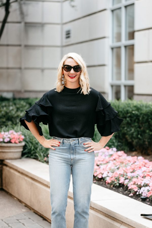 how to wear the statement sleeve, statement sleeve outfit, highwaisted denim outfit, statement sleeve for date night, spring trends, baublebar earrings, 3 tier earrings