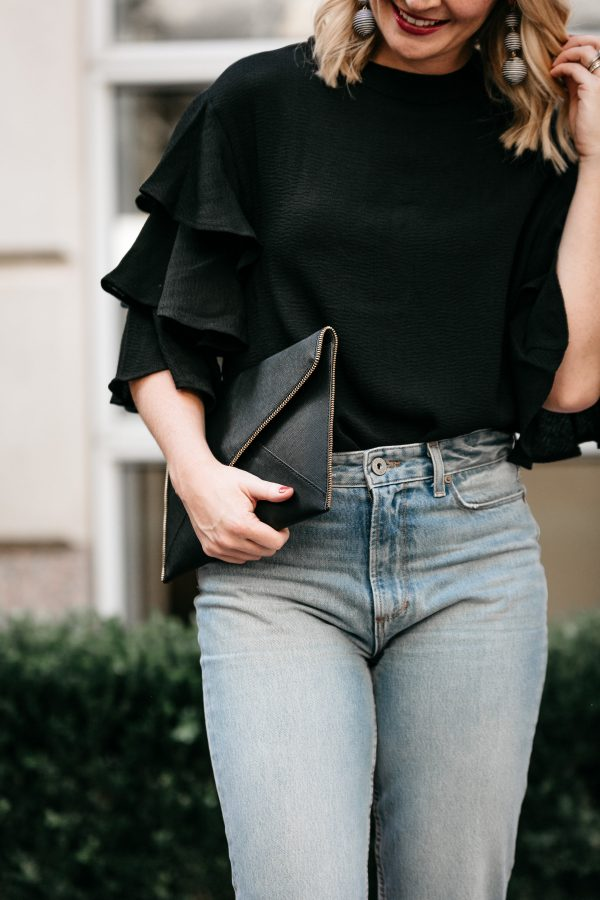 statement sleeve blouse, how to wear a statement sleeve, chic style, chic outfit for going out, rebecca minkoff clutch, what to wear with high waisted denim