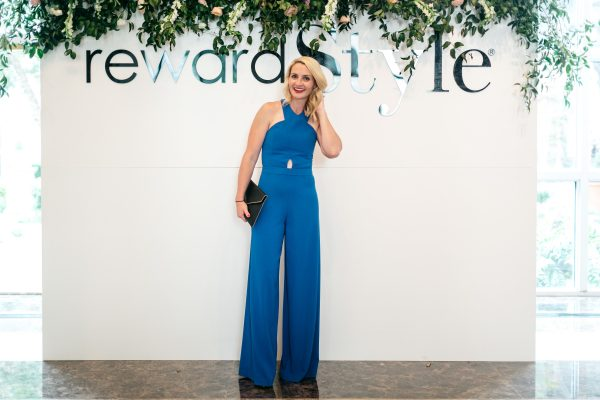 Alice + Olivia Jumpsuit, What to wear to the reward style Conference, Blue Jumpsuit, What to wear to a cocktail party