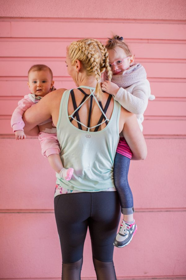 Calia by Carrie workout wear, cute workout outfit, fit mom, dutch braids, cute mom outfit