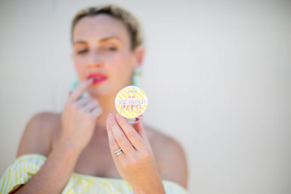 Yellow Dress, Summer Style, Tuckernuck Style, Yellow Dress Outfit, Yellow & Turquoise, Supergoop! lip & cheek treat, lipgloss, bold lip