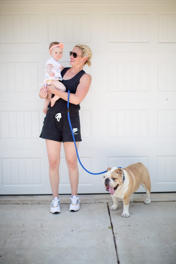 nike romper, athleisure style, mom style, summer mom style, cute mom outfit in summer