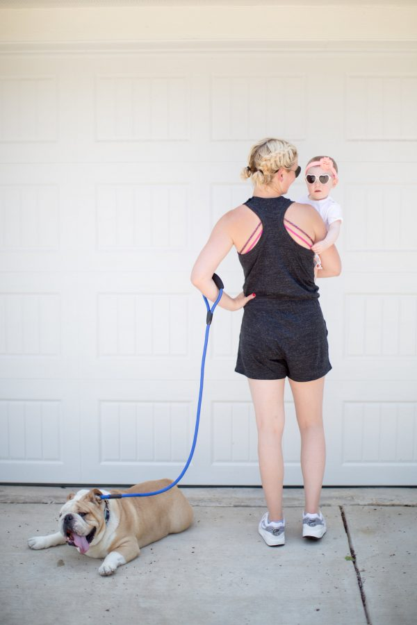 nike romper, athleisure style, mom style, summer mom style, cute mom outfit in summer, lululemon sports bra, how to wear the peek-a-boo sports bra trend