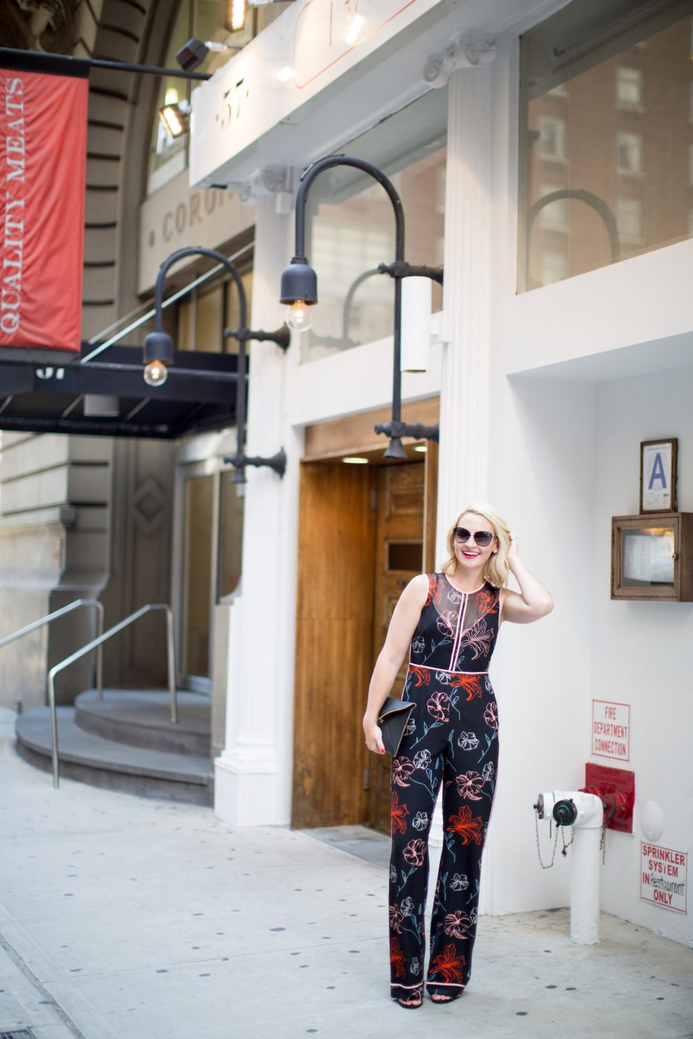 Fashion Blogger Kate Brennan wearing unique print jumpsuit: Trunk Club