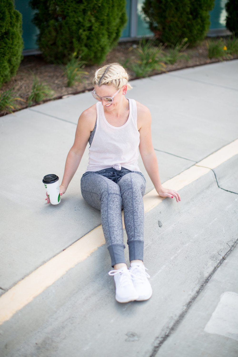 grey leggings white workout tank available at the Nordstrom Sale