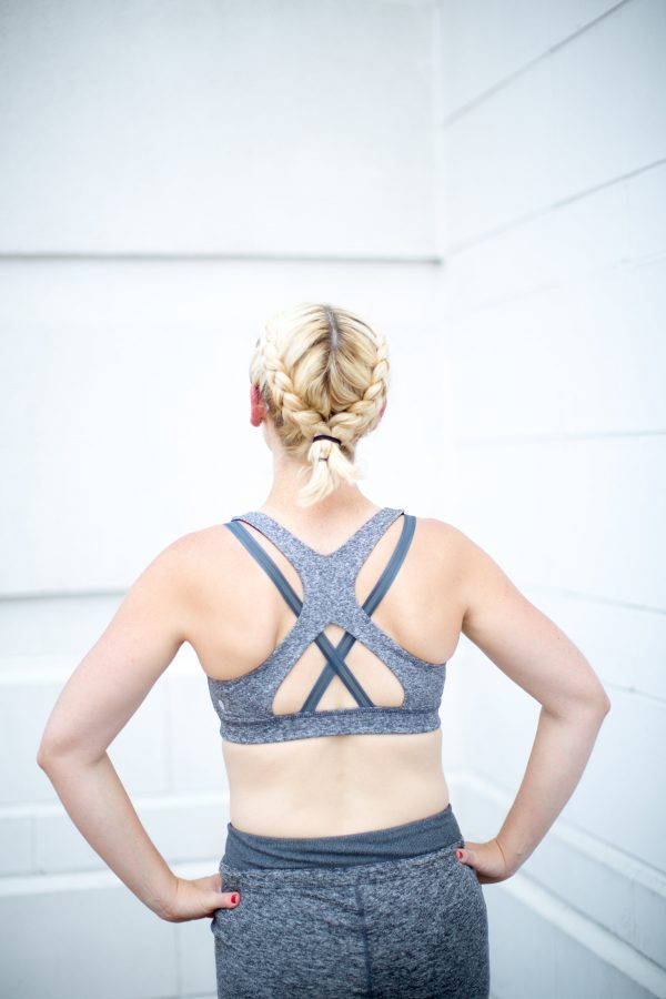 strappy back grey sports bra: errands and gym look