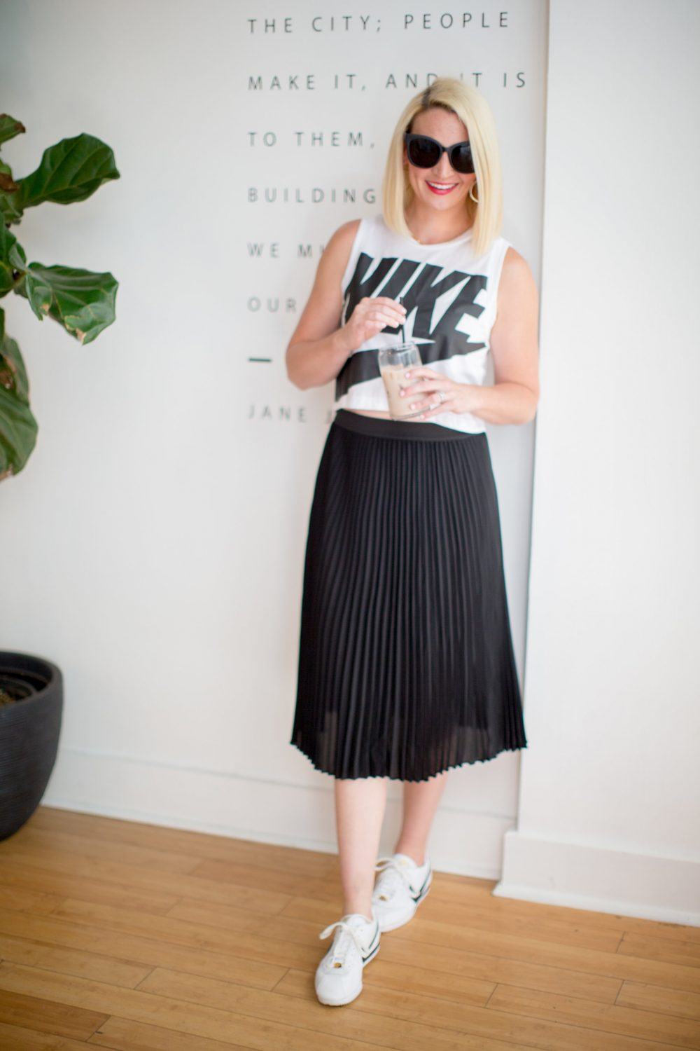 how to pair sneakers with a dress or a skirt