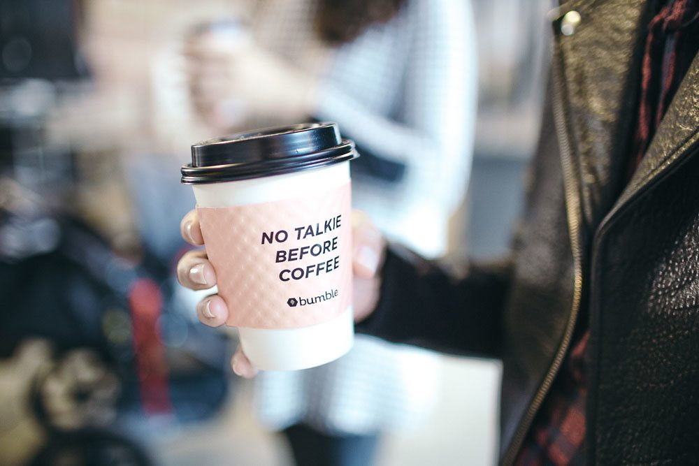 Bumble coffee cup: no talkie before coffee