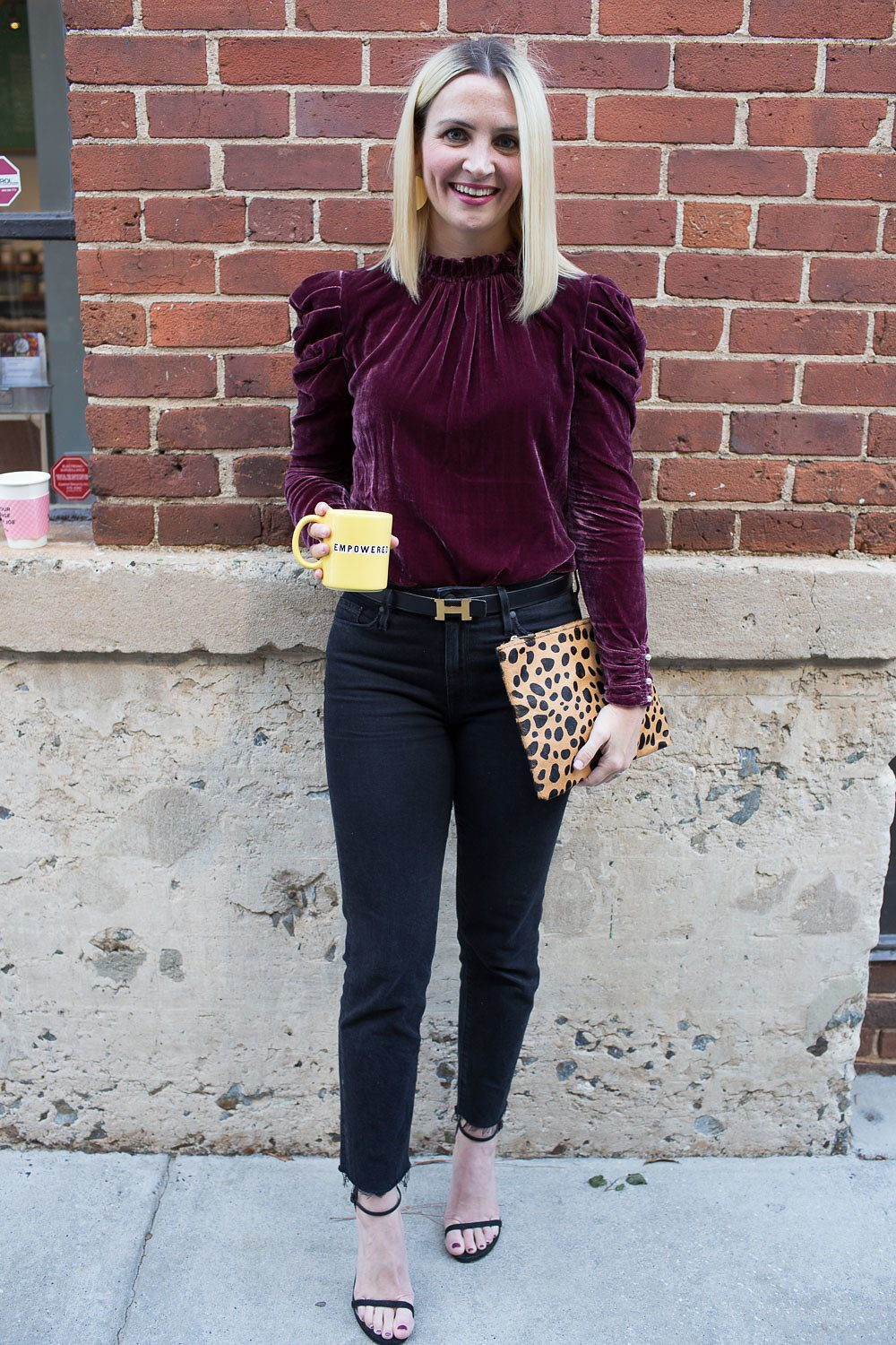 Velvet red top on Kate Brennan: Chic mom style