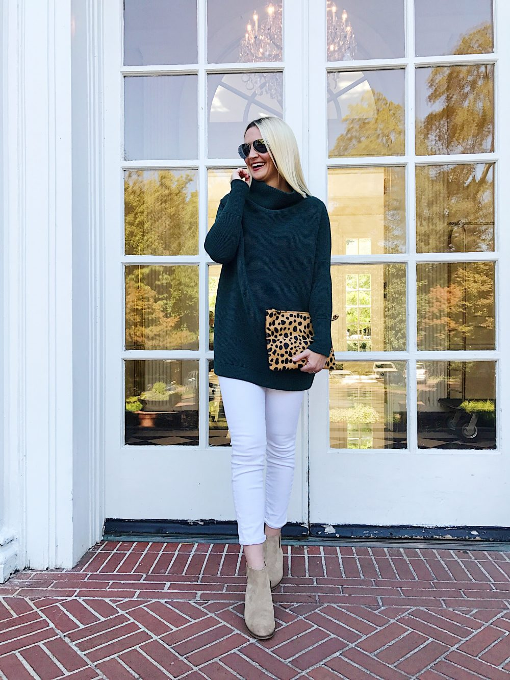 Free People Tunic Sweater in Hunter Green