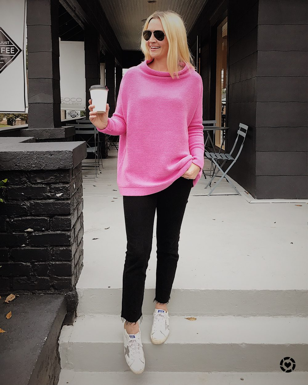 Free People Tunic Sweater in Pink with Golden Goose Sneakers