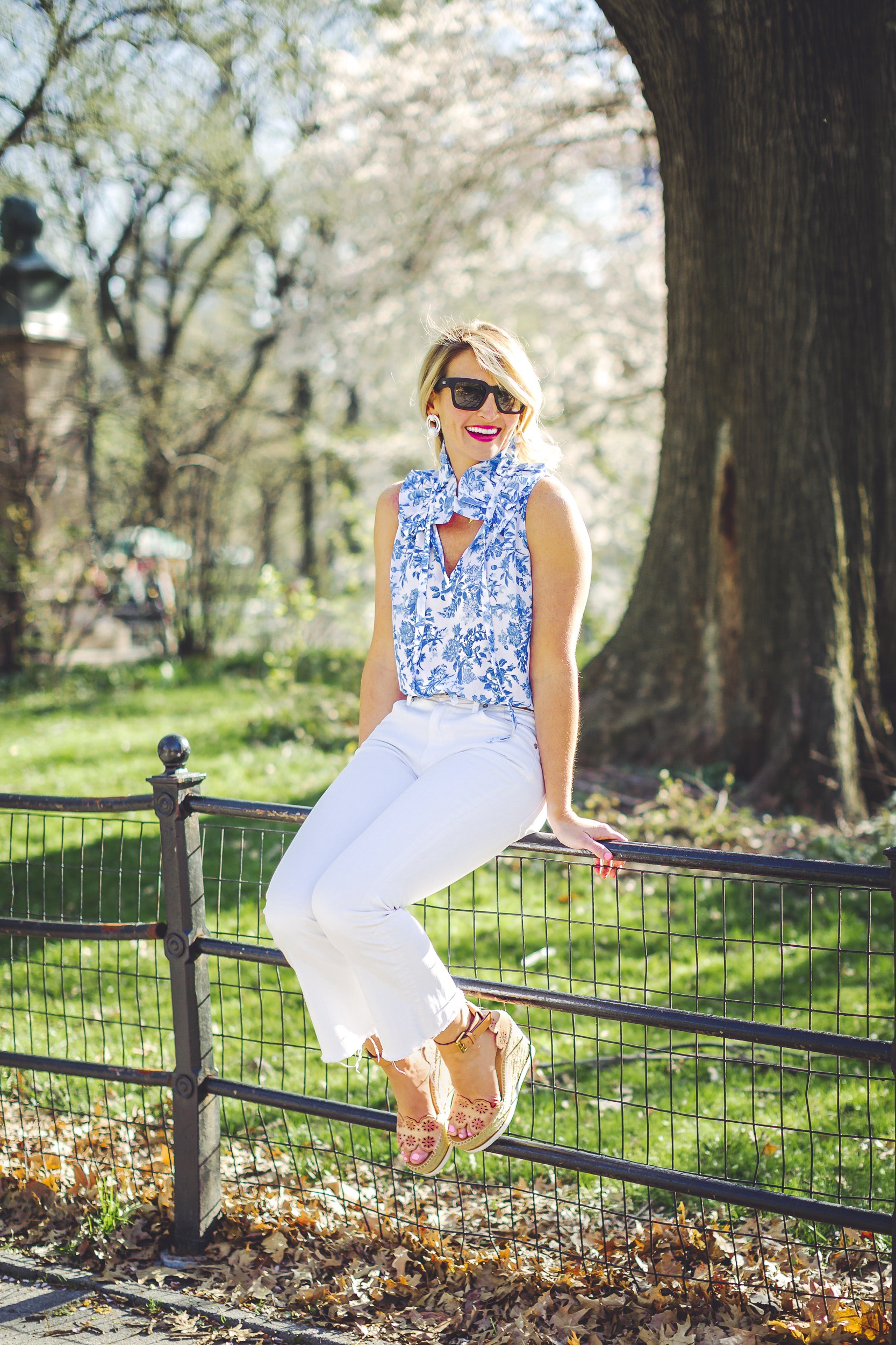 Tuckernuck Floral Top, Citizens of Humanity White Denim, Chloe Wedges
